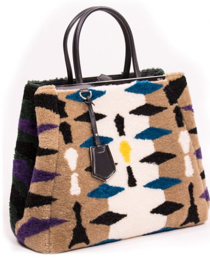 Fendi Multicolor Shearling Large 2Jour Tote Handbag