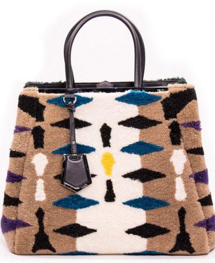 Fendi Multicolor Shearling Large 2Jour Tote Handbag