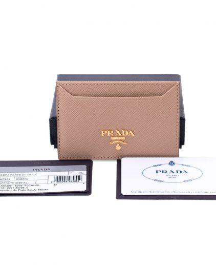 Prada Tan Saffiano Leather Card Holder