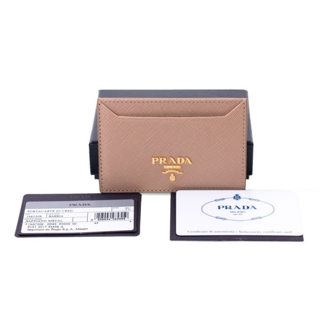 Prada Tan Saffiano Leather Card Holder