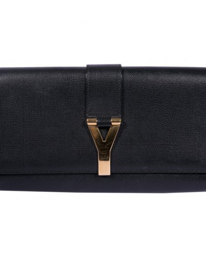 Saint Laurent Black Leather Cabas Chyc Clutch