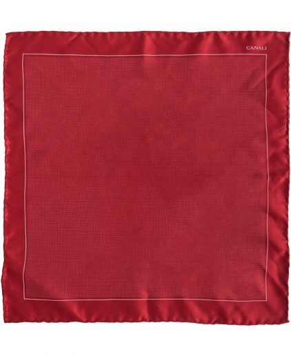 Canali Red Printed Silk Pocket Square