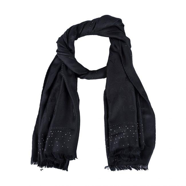 Bvlgari Black Tonal Woven Silk Logomania Stole