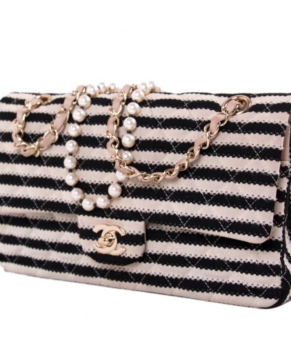 Chanel Black White Striped Coco Sailor Shoulder Bag