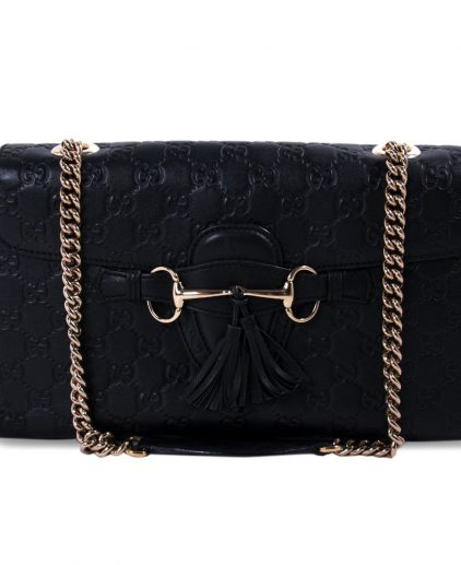Gucci Black Guccissima Leather Emily Shoulder Bag
