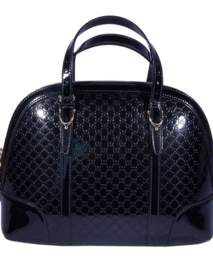 Gucci Black Patent Leather Nice Micro Guccissima Top Handle Bag