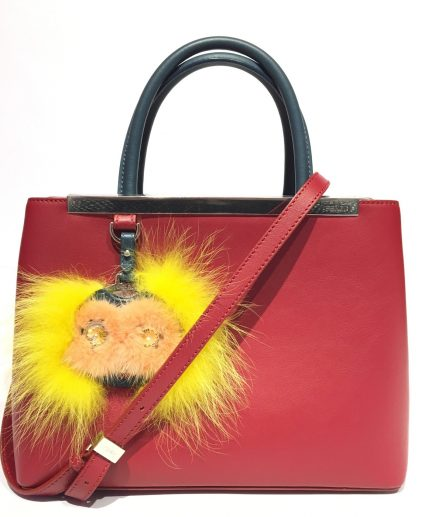 Fendi Red Calfskin Leather Embellished Petite 2jour Tote
