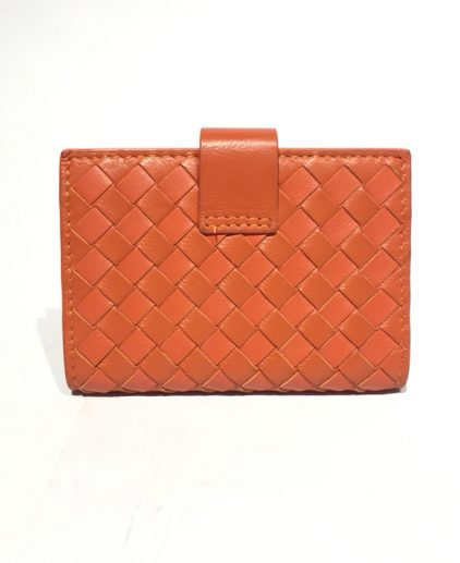 Bottega Veneta Orange Intrecciato Leather Wallet