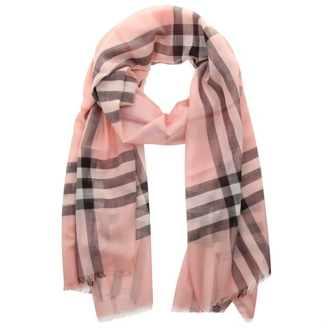 Burberry Ash Rose Wool Silk Check Gauze Stole