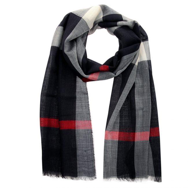 Burberry Black Wool Silk Check Gauze Stole