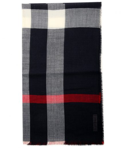 Burberry Black Wool Silk Check Gauze Stole