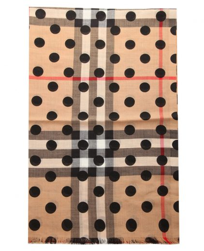 Burberry Black Wool Silk Check Polka Dot Gauze Stole