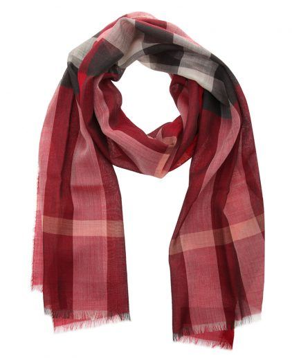 Burberry Crimson Pink Wool Silk Check Gauze Stole