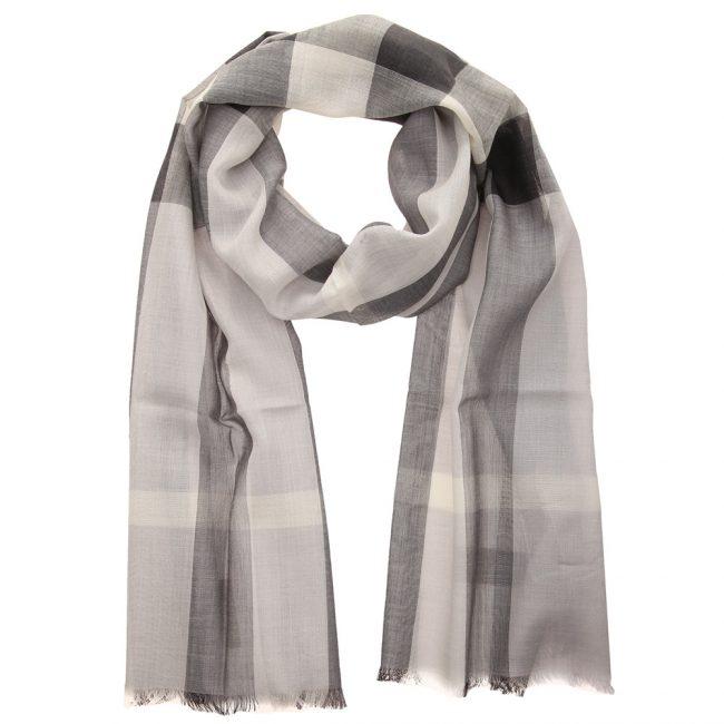 Burberry Grey Wool Silk Check Gauze Stole