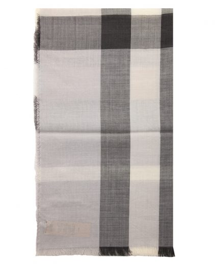 Burberry Grey Wool Silk Check Gauze Stole