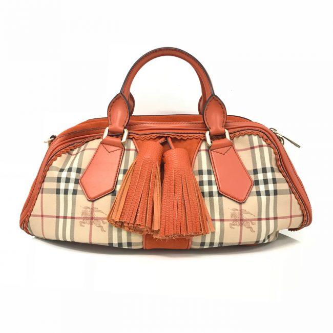 Burberry Haymarket Check Orange Leather Shoulder Handbag
