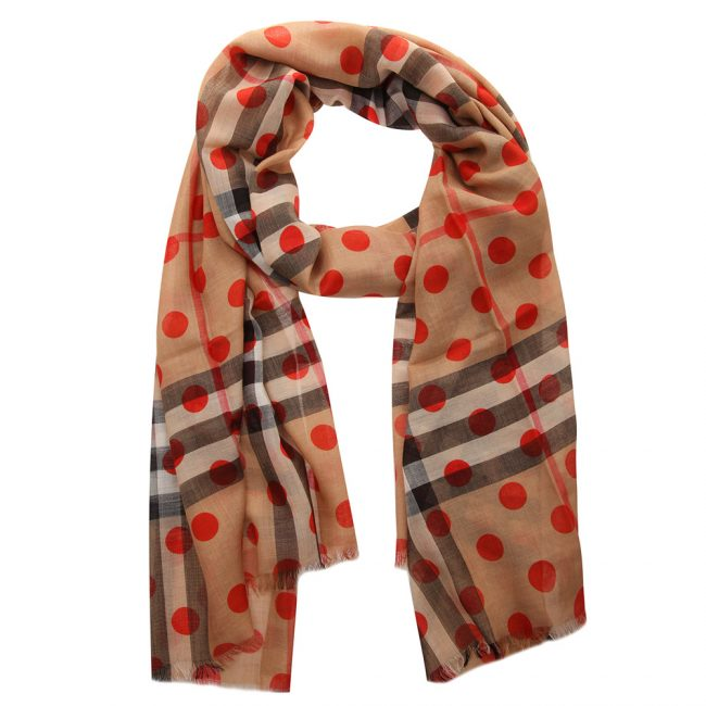 Burberry Military Red Wool Silk Check Polka Dot Gauze Stole