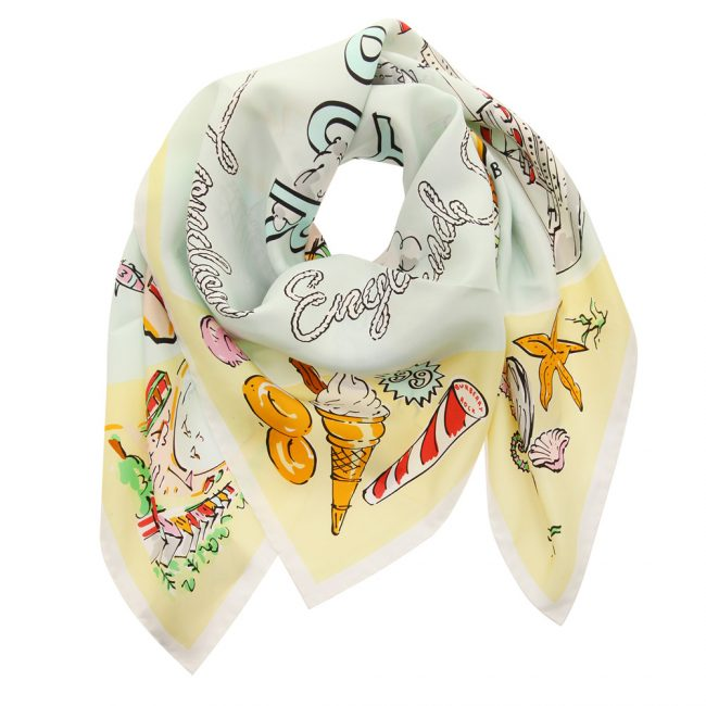 Burberry Pale Yellow Printed Silk Coastline Square Scarf
