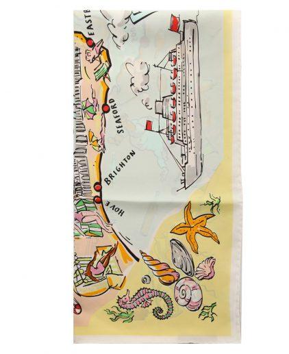 Burberry Pale Yellow Printed Silk Coastline Square Scarf