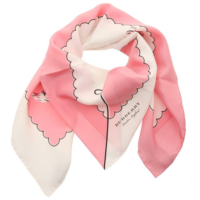 Burberry Pink Printed Silk London Landscape Square Scarf
