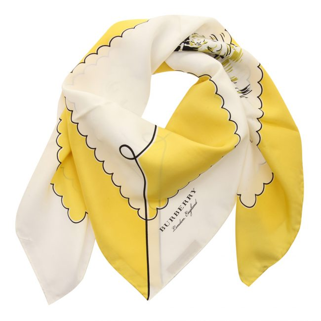 Burberry Yellow Printed Silk London Landscape Square Scarf