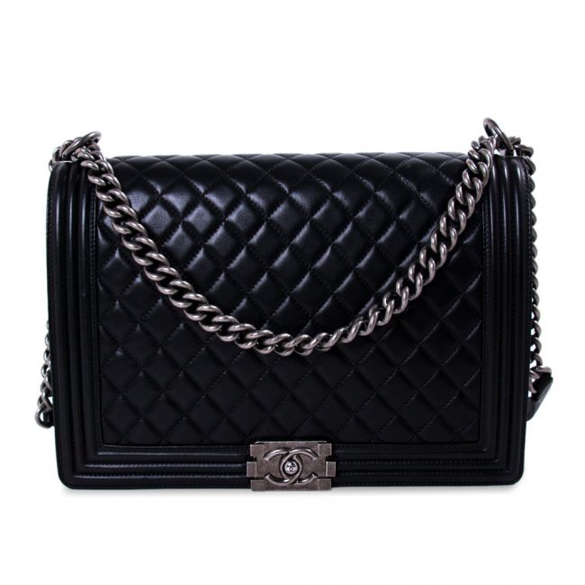 Chanel Large Black Quilted Leather Large Boy Bag