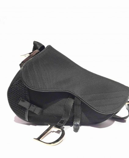 Dior Black Fabric Saddle Handbag