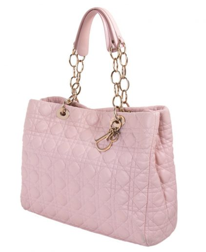 Dior Pink Cannage Soft Leather Large Shopping Tote