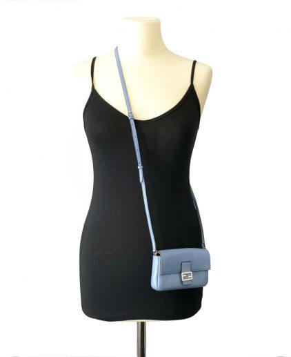 Fendi Blue Micro Baguette Shoulder Handbag