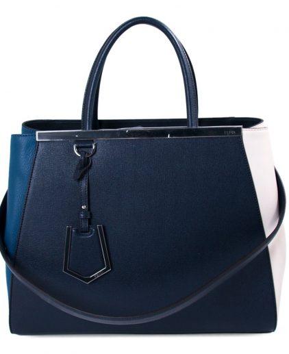 Fendi Cream Blue Navy Blue 2Jours Large Tote Handbag