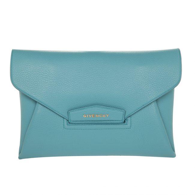 Givenchy Blue Oxygen Leather Envelope Antigona Clutch