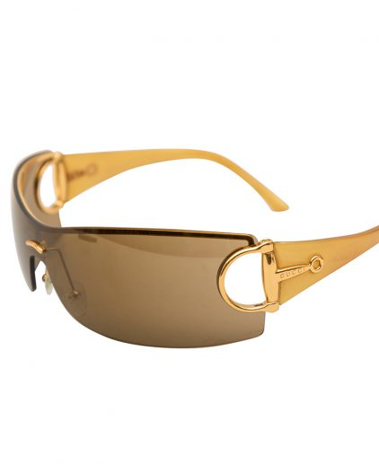 Gucci Brown Horsebit Shield Sunglasses