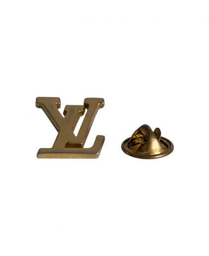 Louis Vuitton Gold Tone Initials Brooch