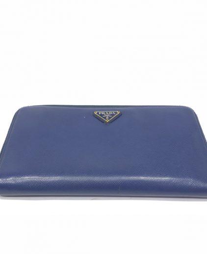 Prada Blue Saffiano Leather Oro Side Zip Wallet