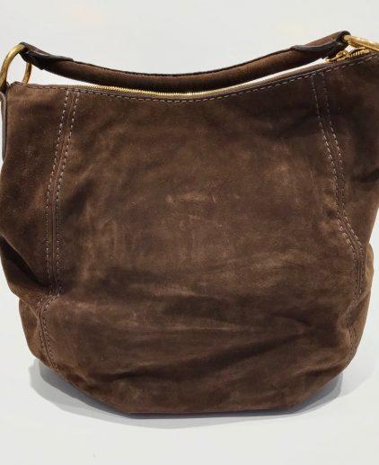 Prada Brown Suede Daino Hobo Handbag