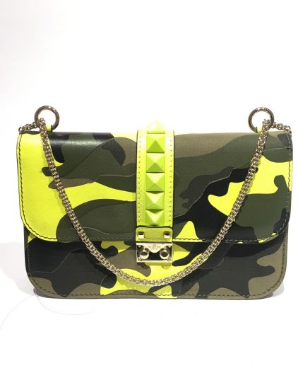 Valentino Limited Edition Green Camouflage Leather Rock Stud Bag