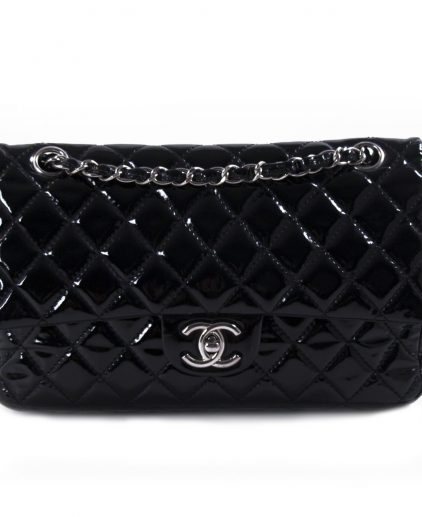 Chanel Black Patent Leather Medium Double Flap Bag