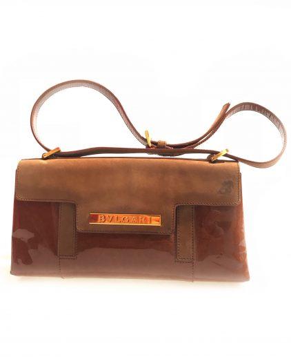 Bvlgari Brown Patent Leather Suede Shoulder Handbag