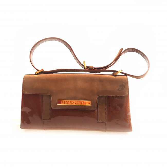 Bvlgari Brown Patent Leather Suede Shoulder Handbag