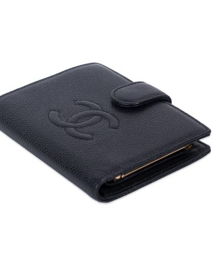 Chanel Black Caviar Leather CC Compact Wallet