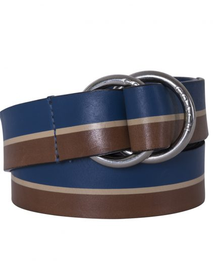 Coach Brown Blue Leather Double D Ring Belt 105cm