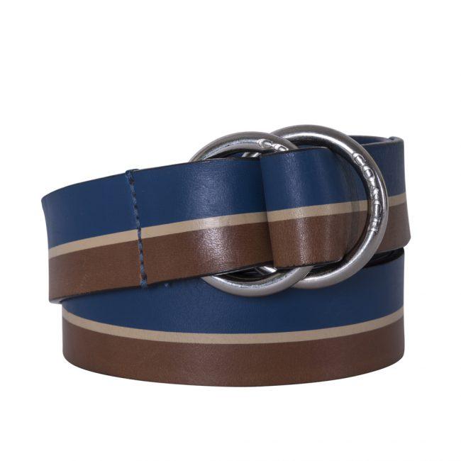 Coach Brown Blue Leather Double D Ring Belt 105cm