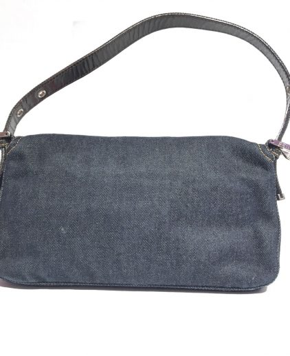 Fendi Blue Denim Baguette Shoulder Handbag