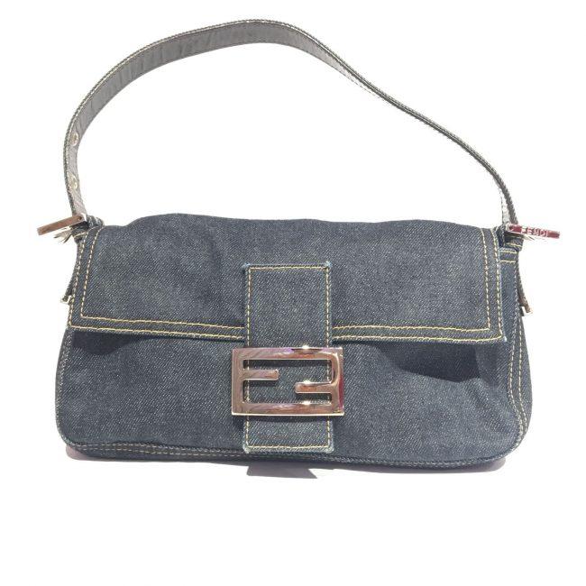 Fendi Blue Denim Baguette Shoulder Handbag