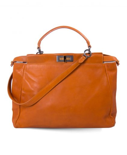 Fendi Orange Leather Large Peekaboo Top Handle Bag