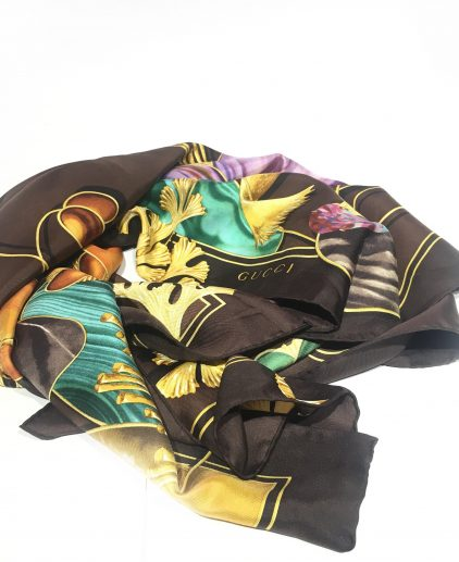 Gucci Brown Multicolor Printed Square Scarf