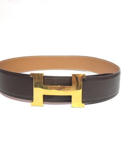 Hermes Black Beige H Buckle Reversible Belt