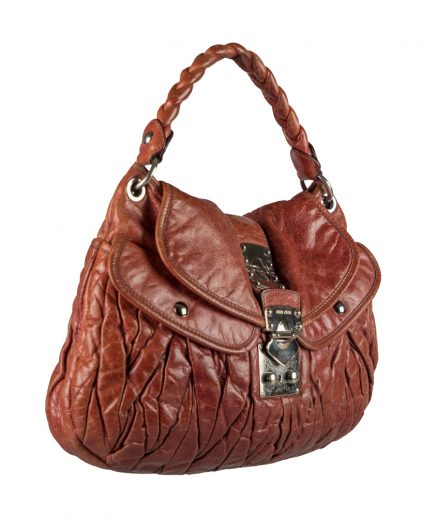 Miu Miu Brown Leather Coffer Hobo Handbag