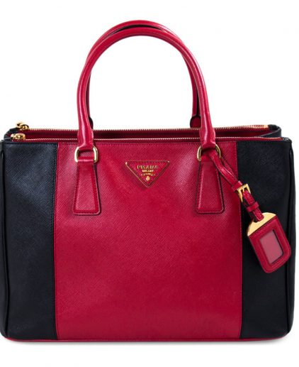 Prada Red Black Galleria Tote Handbag