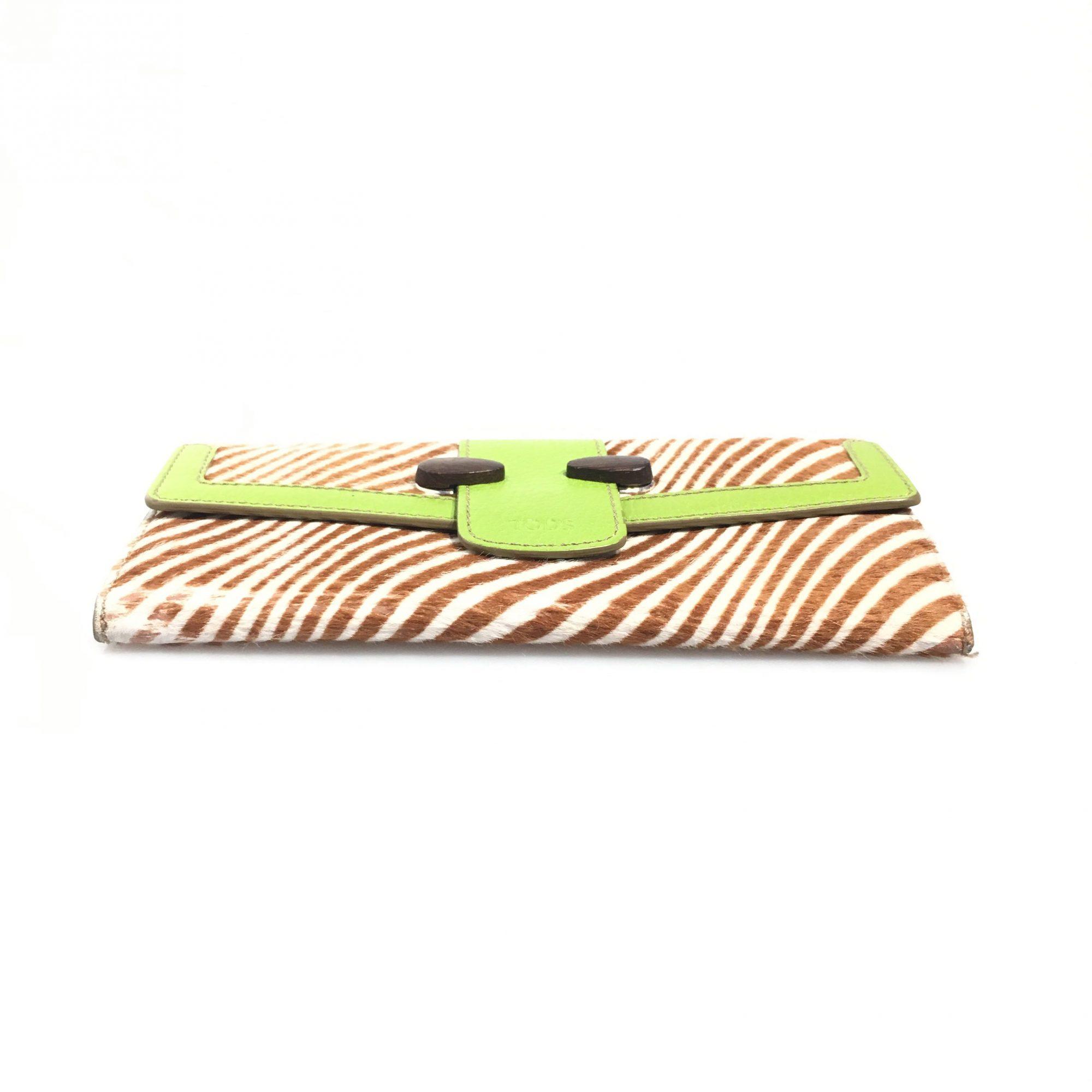 054b6e7c8e Tods Green Leather Calf Hair Long Wallet